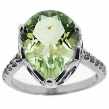 925 Sterling Silver 5.5 Ct Natural Green Amethyst & White CZ Gorgeous Ring