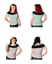 NEW 1950s Style Polka Dot Top, High Quality Rockabilly Top By Miss Fortune XS-XL