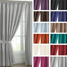 Luxury Faux Silk Fully Lined Pencil Pleat Curtains++Tie Backs ☆☆