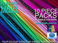 Feather Hair Extensions XL Single Colours Tool Beads Kits Options + FREE $7 Gift