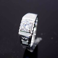 18K White Gold Filled Rings 8MM Band GF CZ Men Charm Wedding Jewelry Size pick