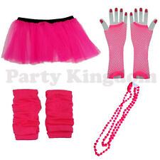 NEON PINK TUTU SKIRT LEGWARMERS GLOVES 1980S 80S RACE FOR LIFE HEN PARTY 6-14