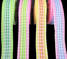 "10 Yds Summer Gingham Plaid Wired Ribbon 1 1/2""W"