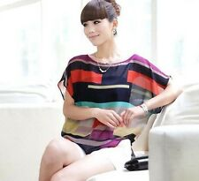 Sleeve Bat T-shirt Tops Casual Summer Short Sleeve ColorfulStriped
