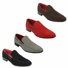 Mens Leather Line Suede Slip on Loafers Smart Casual Italian Style Driving Shoes