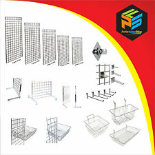 GRID WALL GRIDWALL MESH CHROME RETAIL SHOP DISPLAY PANEL BASKET HOOK