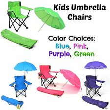 KIDS Portable Folding CHAIR *with* UMBRELLA Lawn Camping Beach Outdoor Seat