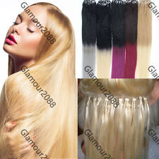 "16-26"" Ombre Hair Easy Loop Micro Rings Remy Human Hair Extensions Straight 100s"