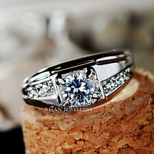 18K White Gold Plated Swarovski Crystal Men's Engagement Ring Wedding Ring R438