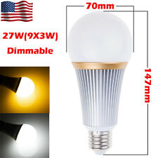 27W Warm Cool White Bright Dimmable E27 LED Globe Bulb Spot Light Lamp US Stock