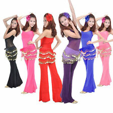 3 Rows Coins Belly Dance Chiffon Hip Skirt Scarf Wrap Belt Attractive