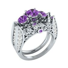 1.90 ct Natural Amethyst & Diamond Solid Gold Engagement Wedding Bridal Ring Set