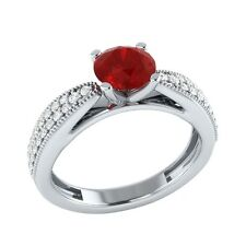 0.80 ct Real Ruby & Certified Diamond Solid Gold Wedding Engagement Ring