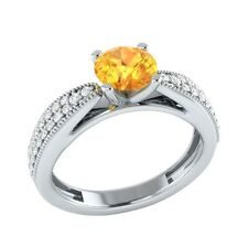 0.80 ct Real Citrine & Certified Diamond Solid Gold Wedding Engagement Ring