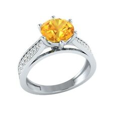 1.85 ct Natural Citrine & Certified Diamond Solid Gold Wedding Engagement Ring