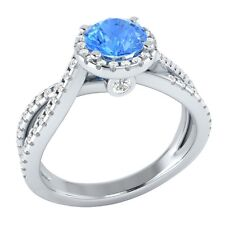 1.00ct Natural Topaz & Certified Diamond Solid Gold Wedding Engagement Ring