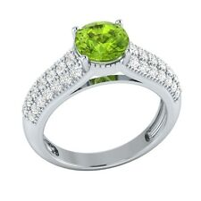 2.20 ct Natural Peridot & Certified Diamond Solid Gold Wedding Engagement Ring