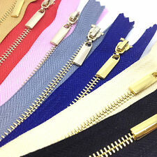 Metal Polished Gold Teeth Zips No 3 Weight Zip -Closed End - 8 Zip Colours,
