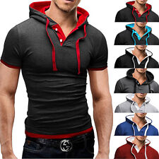 New Mens Casual Style Fashion Short Sleeve Hooded T-Shirt Slim Fit POLO Shirt DS