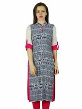 Bimba Women Classic Chic Printed Blouse Rayon Kurta Kurti Indian Tunic