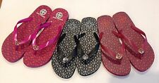 TORY BURCH LOGO LATTICE COMBO FLIPFLOP S.7,8,9,10,11 FUCHSIA ,BLACK,MULTICOLOR