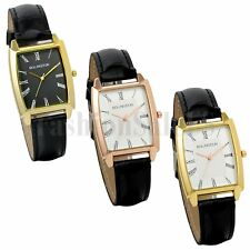New Mens Square Face Roman Numerals Dial Leather Band Quartz Analog Wrist Watch