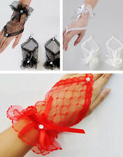 Fingerless Bow Bridal Short Evening Lace Sexy Wrist Wedding Gloves Dress Party