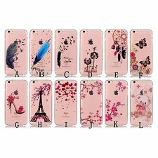 10pcs/lot Clear TPU Soft Case Flower Butterfly Tower mixed Design iPhone Samsung