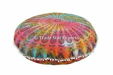 """32"""" Large Mandala Tapestry Floor Pillows Ottoman With Insert Round Cushion Throw"""