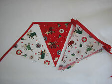 Hand Made 10ft 13 Flag or 6ft 10 Flag Christmas Fabric Bunting Garland (reinder)