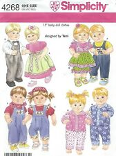 "Simplicity 4268 Baby Doll Clothes for 15"" Dolls   Craft Sewing Pattern"