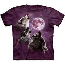 THREE WOLF MOON IN PURPLE T-Shirt The Mountain Wolves Howling Night S-3XL NEW
