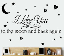 I Love you Moon Star Quote Removable Vinyl Wall Decal Sticker Art For Home Decor