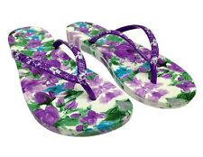 US WOMEN'S BEACH WEDGE FLORAL SHOES OPEN-TOE SLIPPERS CASUAL FLIP FLOPS  DD730