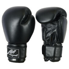 Playwell Leather Boxing Gloves Black With Free Hand Wraps Sparring Training