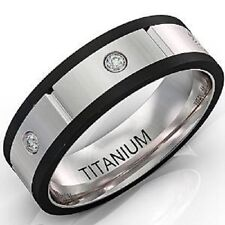 Mens Wedding Band Titanium Ring Black Two Toned Edges with Cz Comfort F
