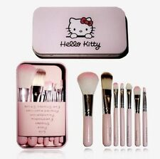 Professional Pink Hello Kitty Cosmetic Makeup Brush 7 Piece Set Kit Black Bag