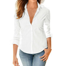 Women Point Collar Long Sleeves Button Down Shirt