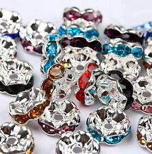 50/100Pcs Silver Plated Czech Crystal Spacer Rondelle Beads Charm Findings 8mm