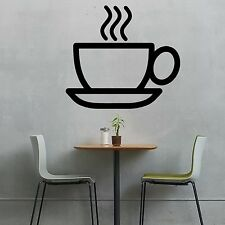 Coffee Cup -Wall Vinyl Decal Sticker Kitchen Cafe Diner Bistro Breakfast Wake up