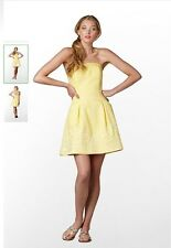 NWT Lilly Pulitzer BLOSSOM Yellow DRESS Sz 12 Embroidered Dahling Cotton
