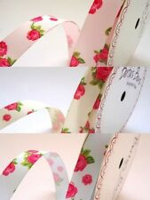 Berties Bows Vintage Style Floral Grosgrain Ribbon Shabby Chic 16mm x 1m