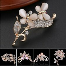A Week 18K Crystal Rose Gold Brooch Pin Womens Lady Wedding Bride Lovely Jewelry