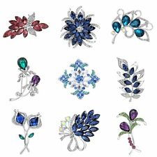 Wedding White Gold Filled 18K Sapphire Crystal Costume Brooch Pin Bride Jewelry