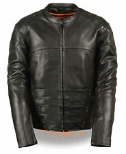 Mens Black Naked Leather SWAT Racer Jacket, Triple Side Straps, Gun Pockets
