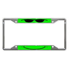 COOL FACE GREEN Metal License Plate Frame Tag Holder Four Holes