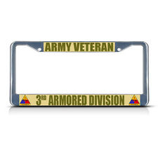 ARMY VETERAN 3RD ARMORED DIVISION Metal License Plate Frame Tag Border Two Holes