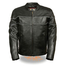 Mens Black Leather Side Stretch Biker Jacket w/ Reflective Piping, Gun Pockets