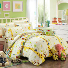 New Cotton Cartoon Flower King Size Bed Duvet Cover Bedsheet Pillowcase Set 4PCS