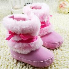 Infant Baby Girls Warm Bowknot Snow Boots Soft Crib Shoes Toddler Fleece Boots